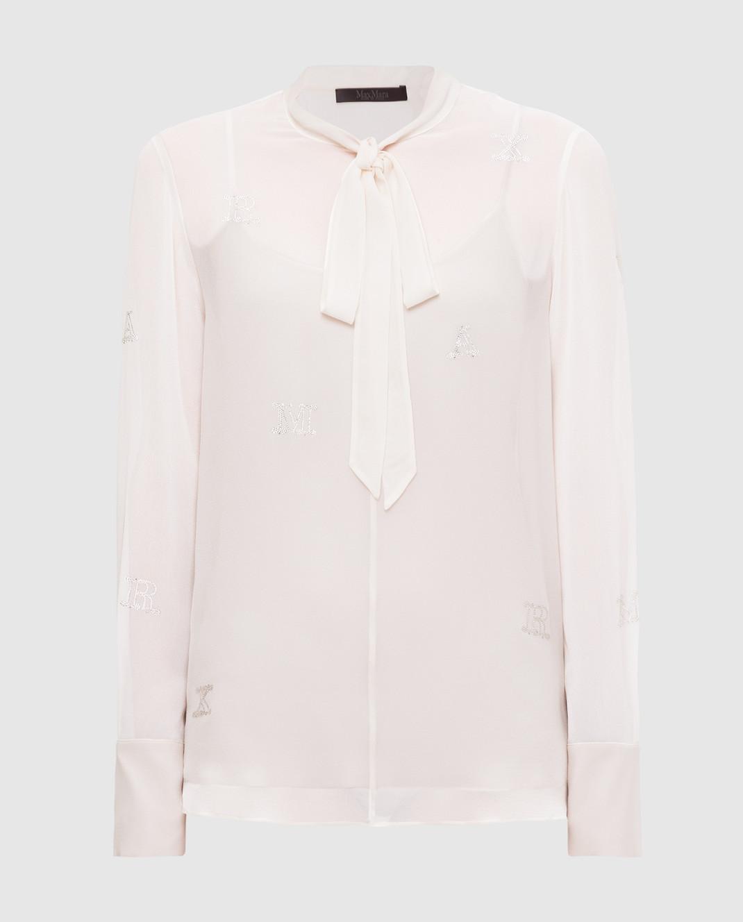 Max Mara Светло-бежевая блуза из шелка NUVOLE