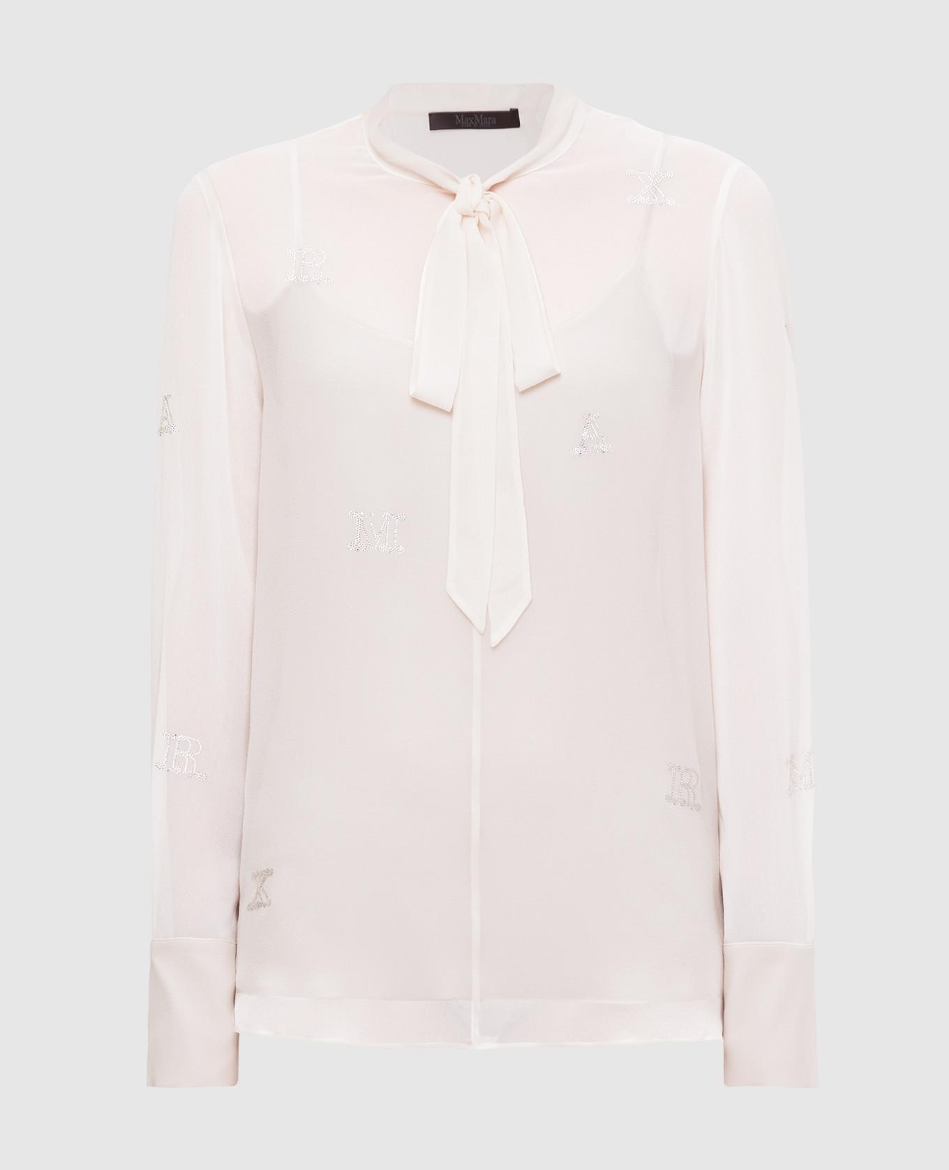 Светло-бежевая блуза из шелка
