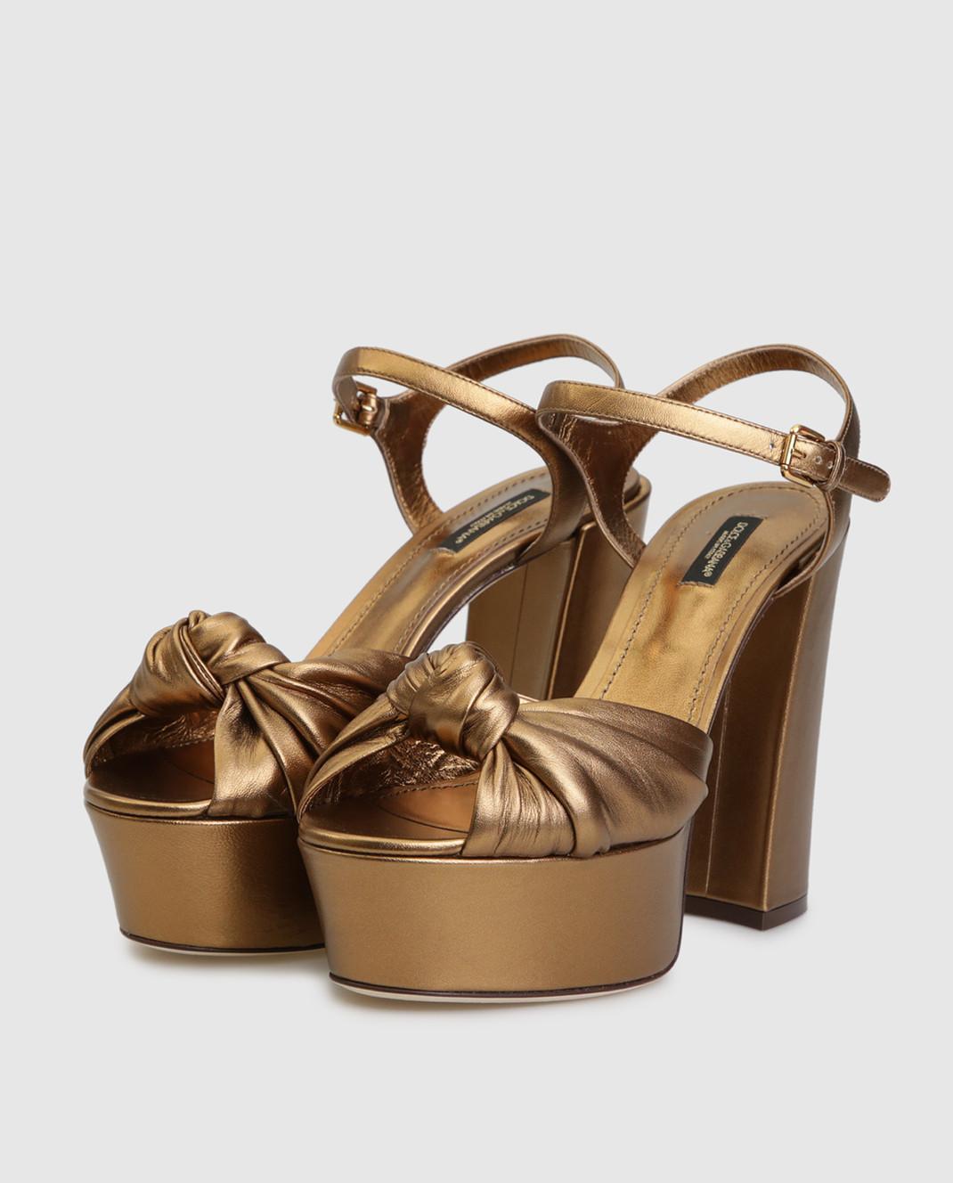 Dolce&Gabbana Золотистые кожаные босоножки CR0695A1016 изображение 3