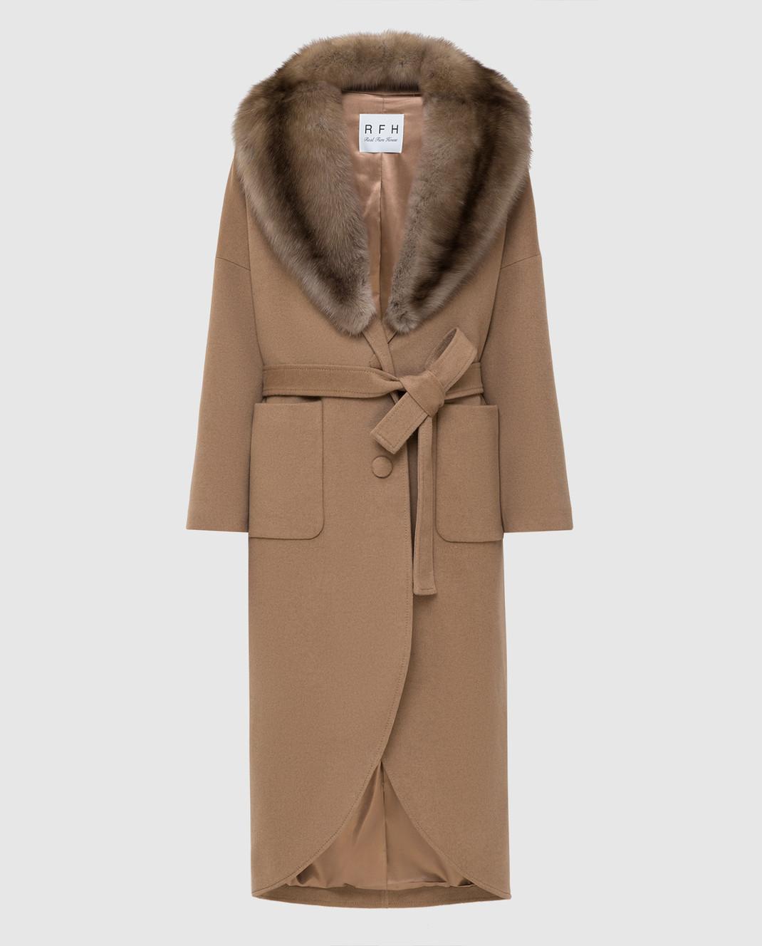 Real Furs House Бежевое пальто из кашемира с мехом соболя изображение 1