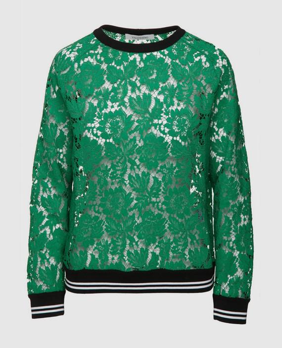 Зеленый свитшот из хлопкового кружева