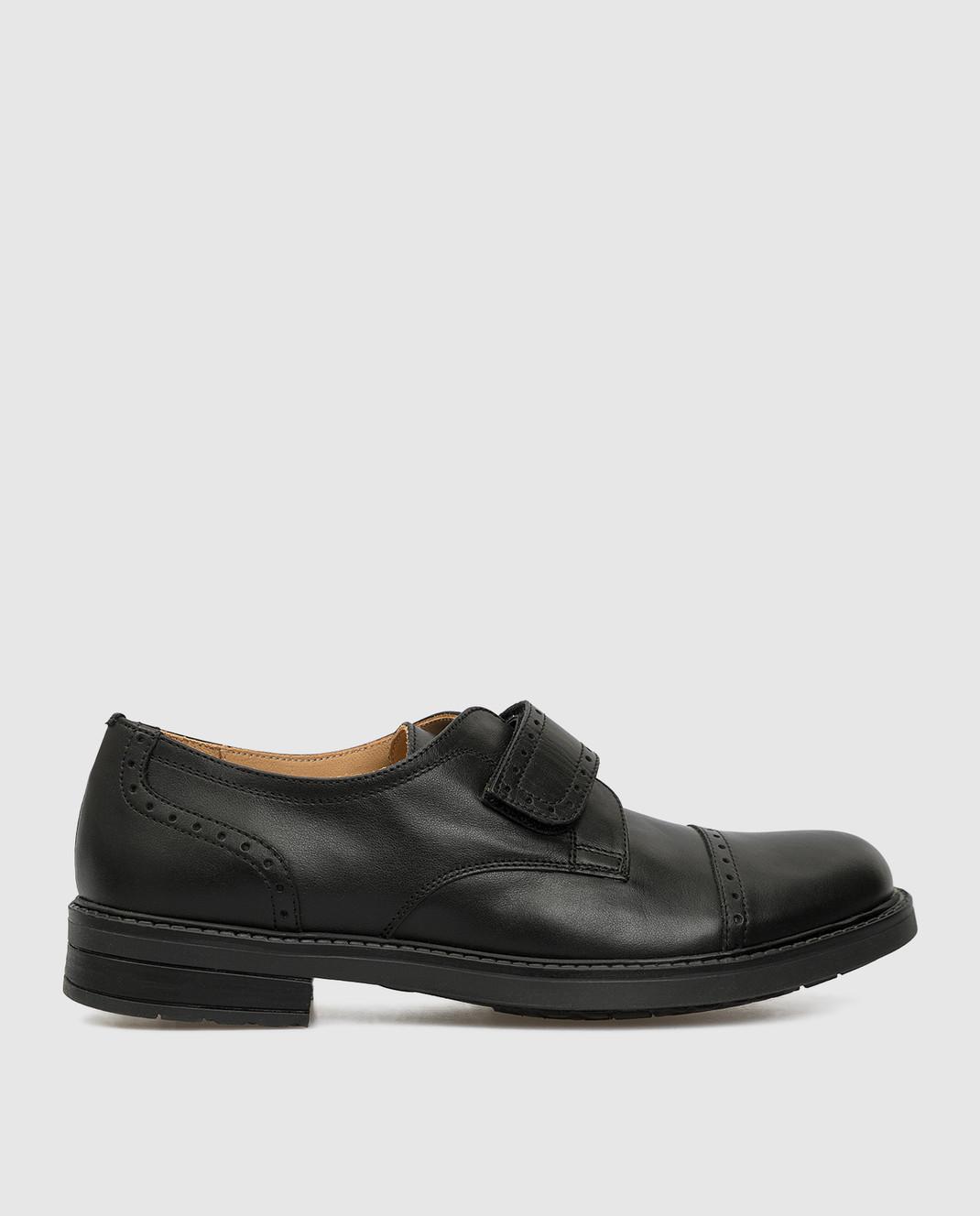 Zecchino D'oro Детские черные кожаные дерби M1575023640