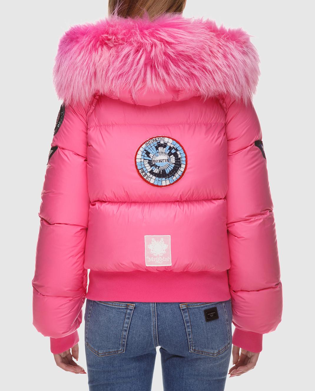 Mr&Mrs Italy Розовый пуховик с мехом уссурийского енота изображение 4
