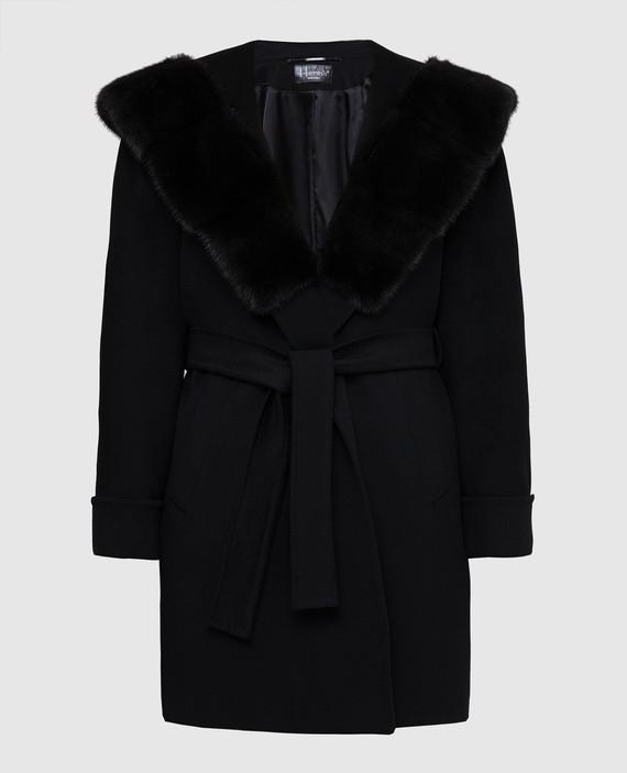 Черное пальто из шерсти с мехом норки