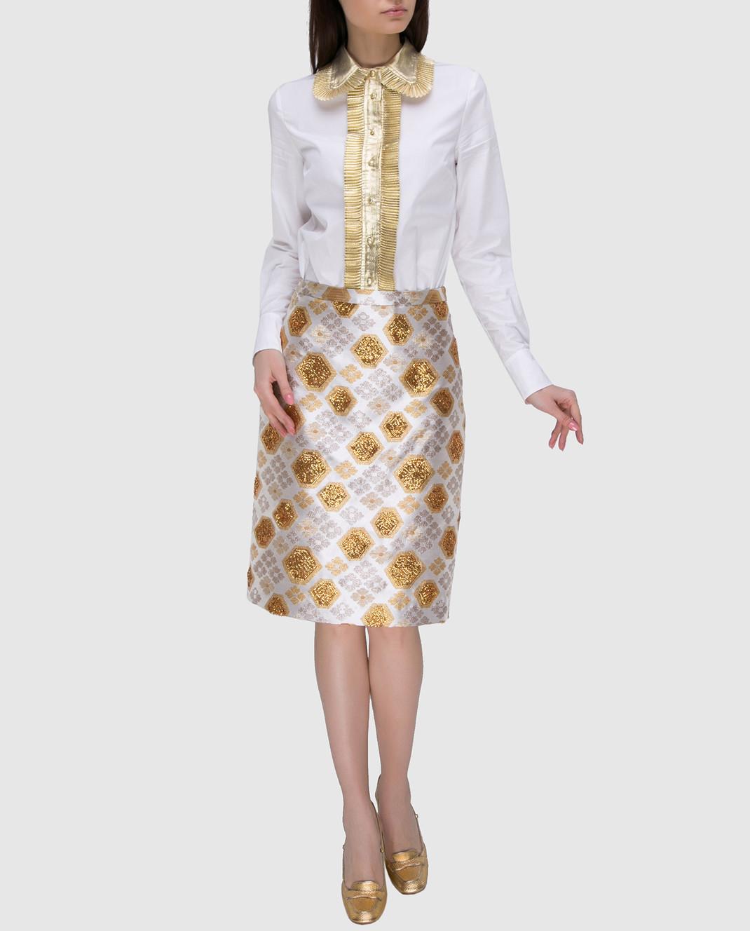 Manoush Светло-бежевая юбка PE7BROJ изображение 2