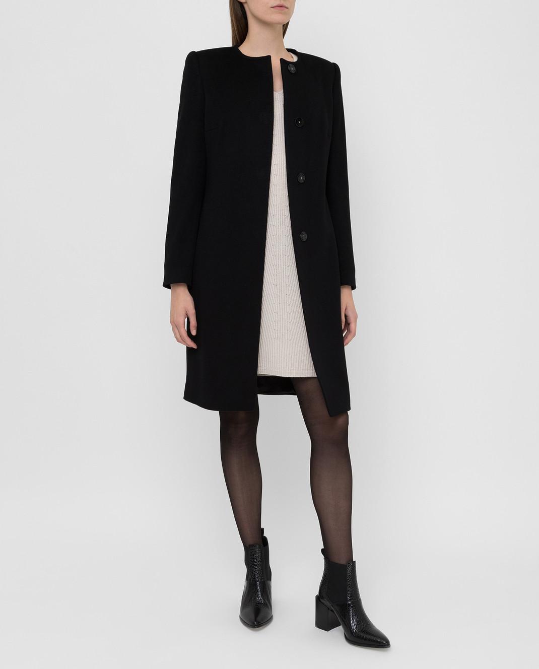 Heresis Черное пальто из шерсти D20M100SLIMG300 изображение 2