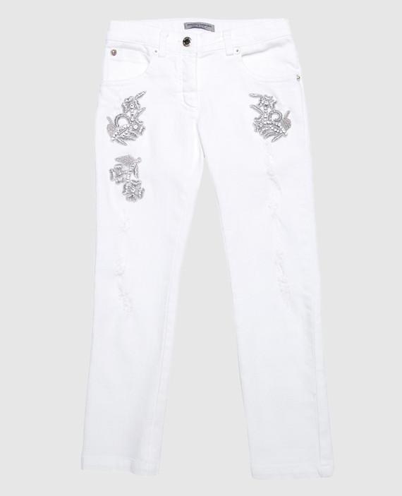 Детские белые джинсы