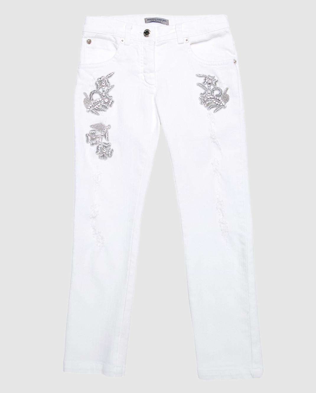 Ermanno Scervino Детские белые джинсы с вышивкой PL1368
