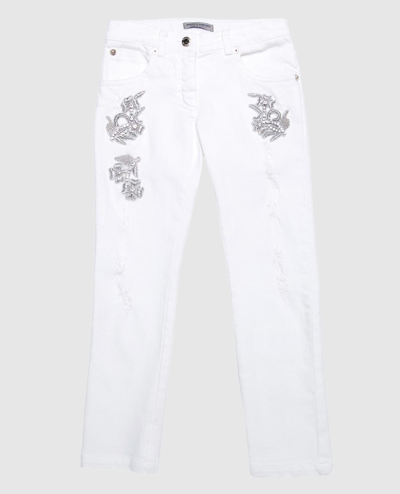 Детские белые джинсы с вышивкой