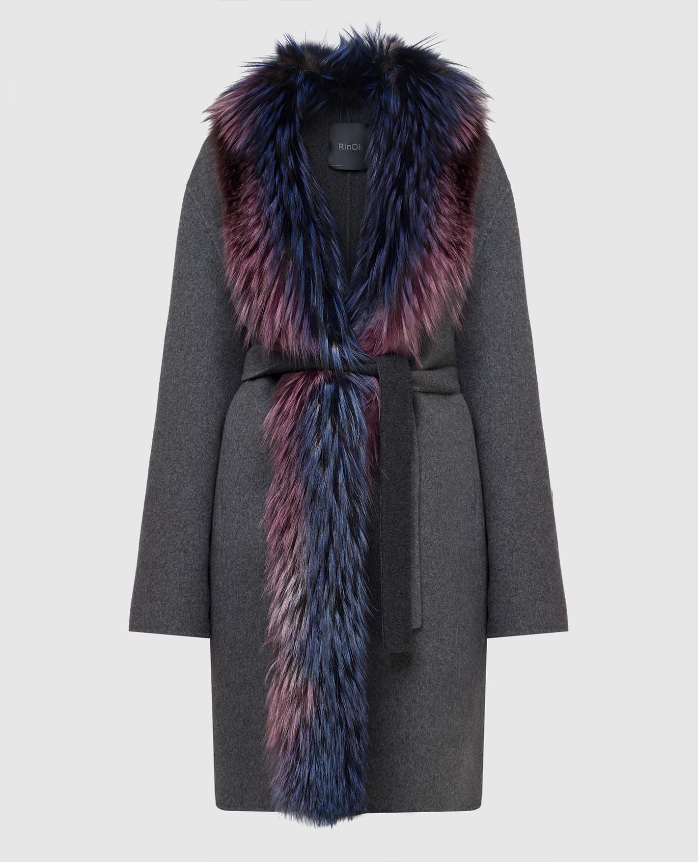 Серое пальто из кашемира с мехом лисы