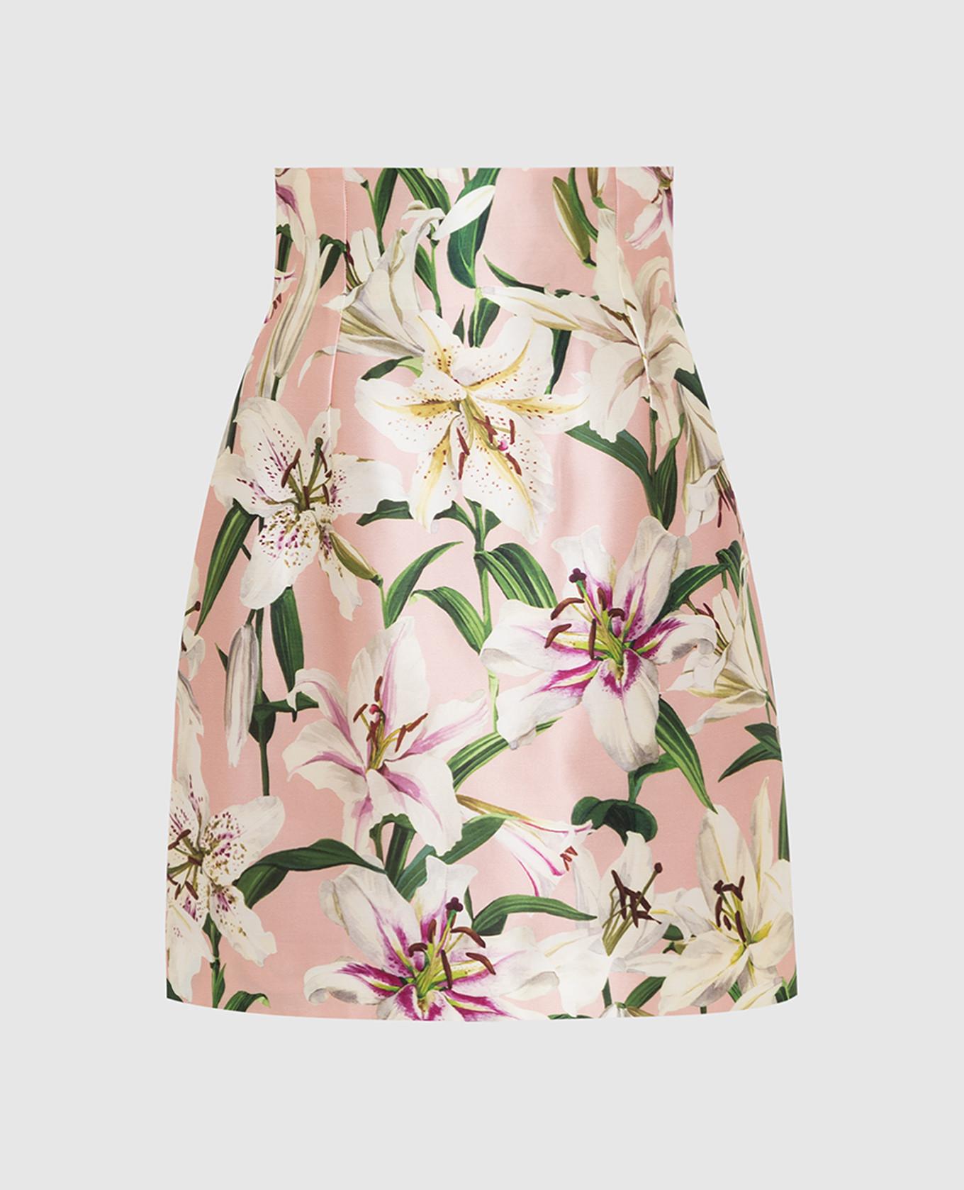 Розовая юбка из шелка