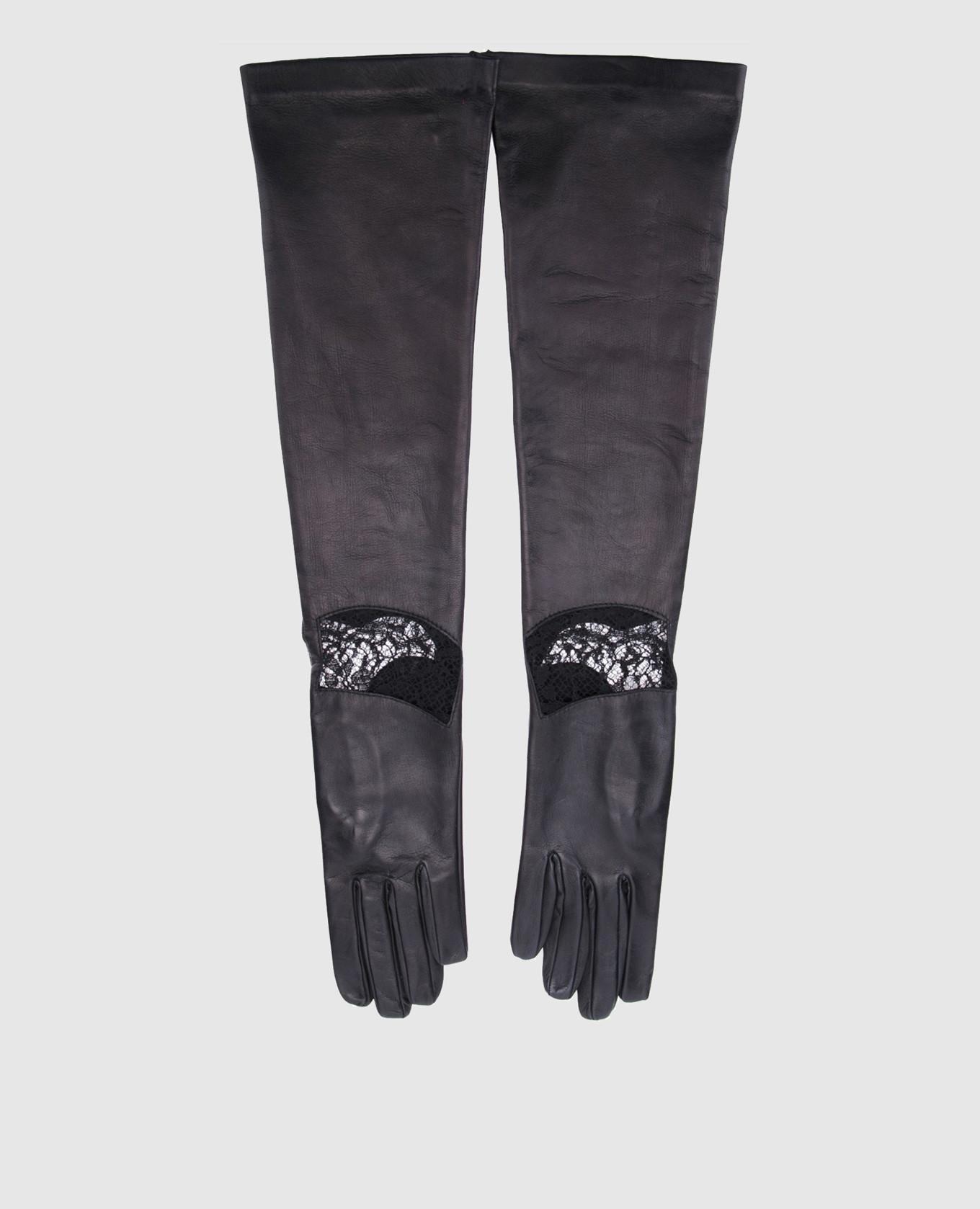 Черные перчатки с кружевом