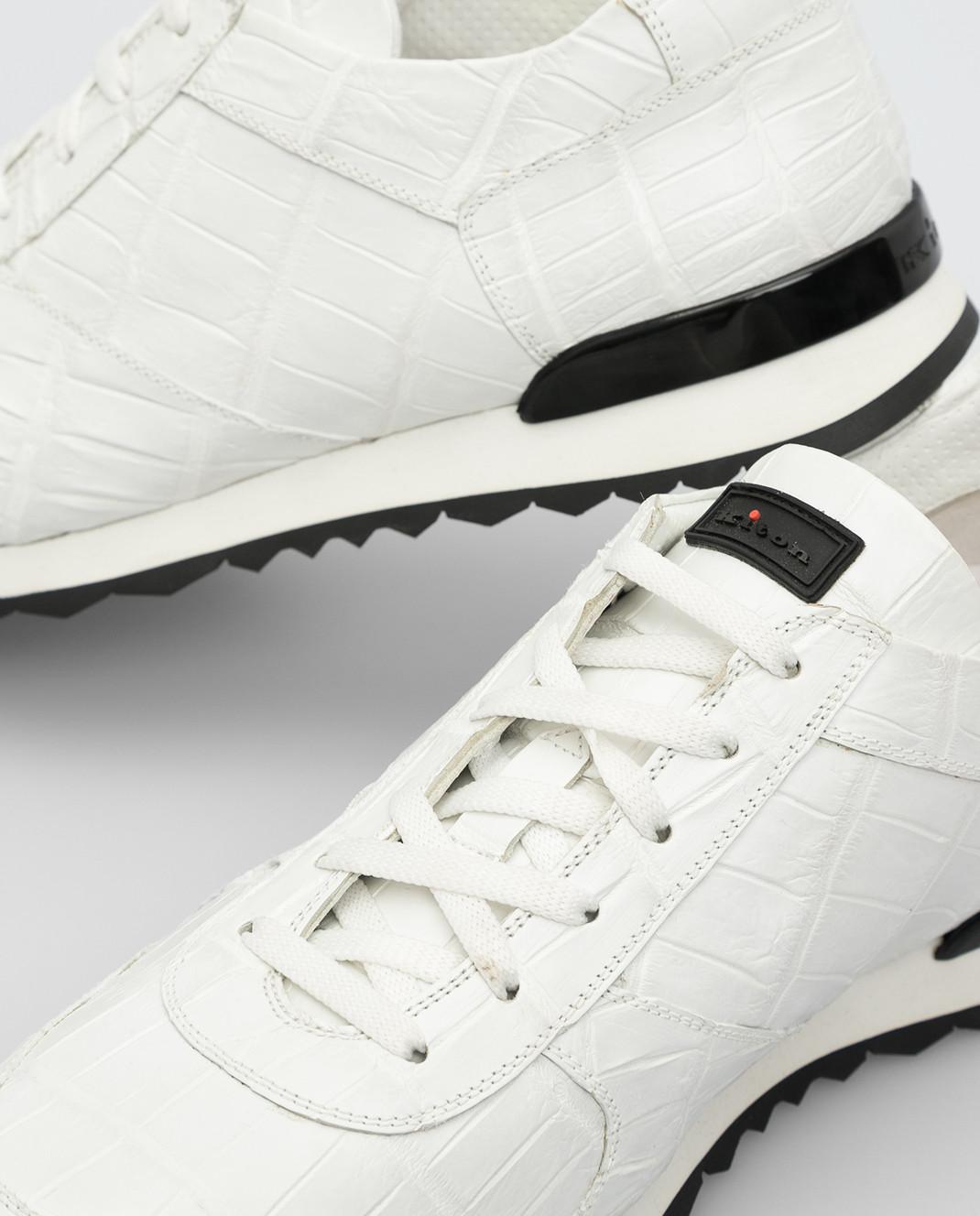 Kiton Белые кроссовки из кожи крокодила USSVLANN0010227 изображение 5