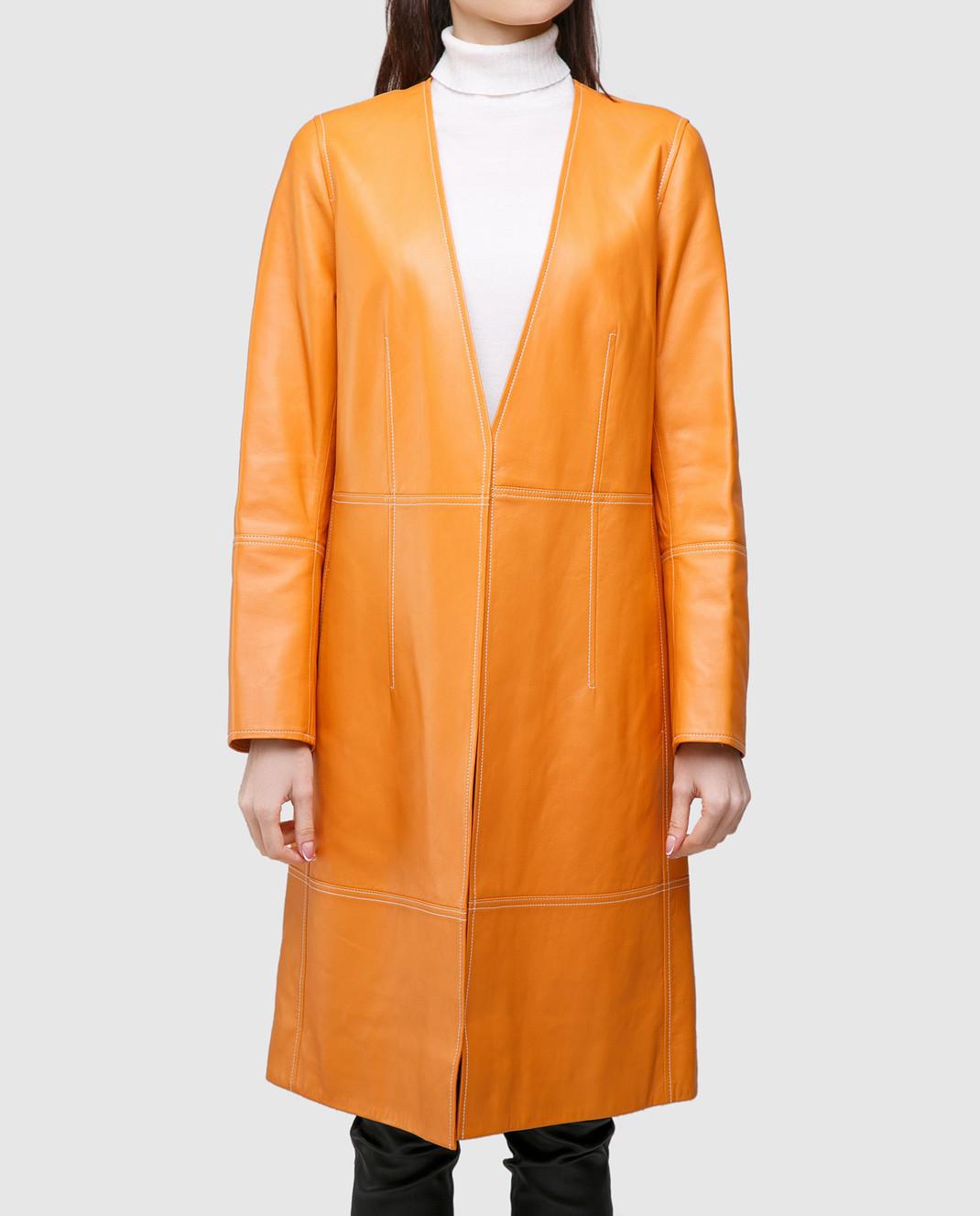 Yves Salomon Оранжевый плащ из кожи ягненка 7EYM20401APXX изображение 3