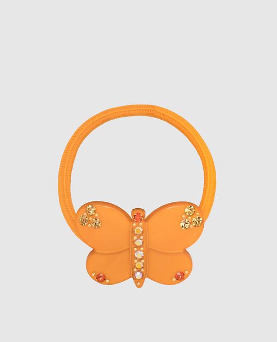Темно-оранжевая резинка для волос с кристаллами