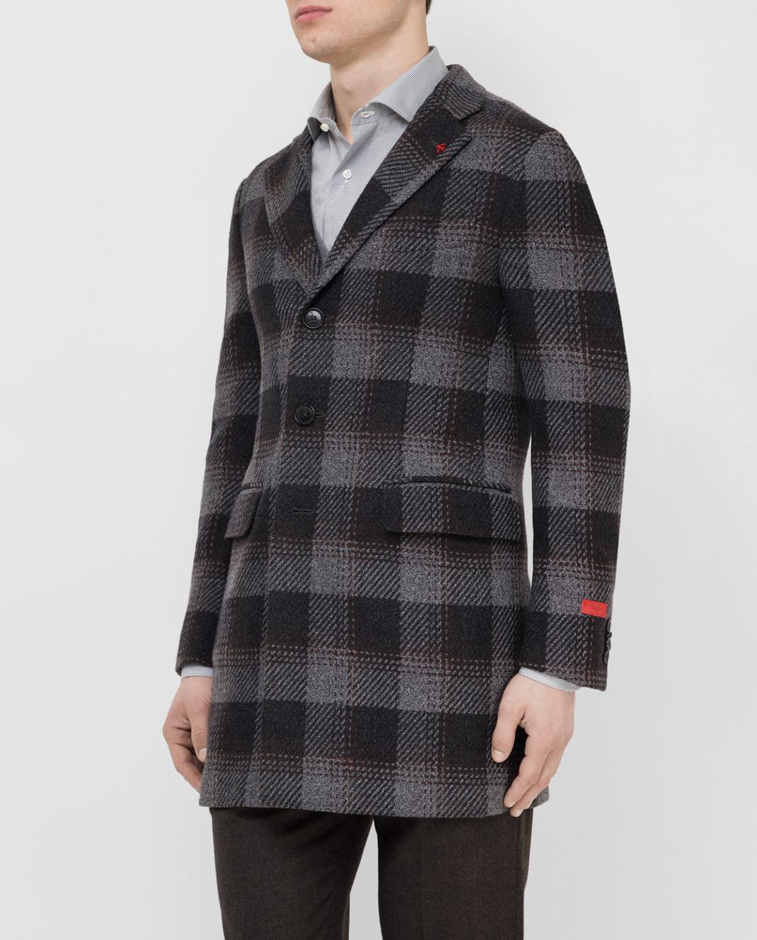 ISAIA Темно-серое пальто из шерсти 00736887340 изображение 3