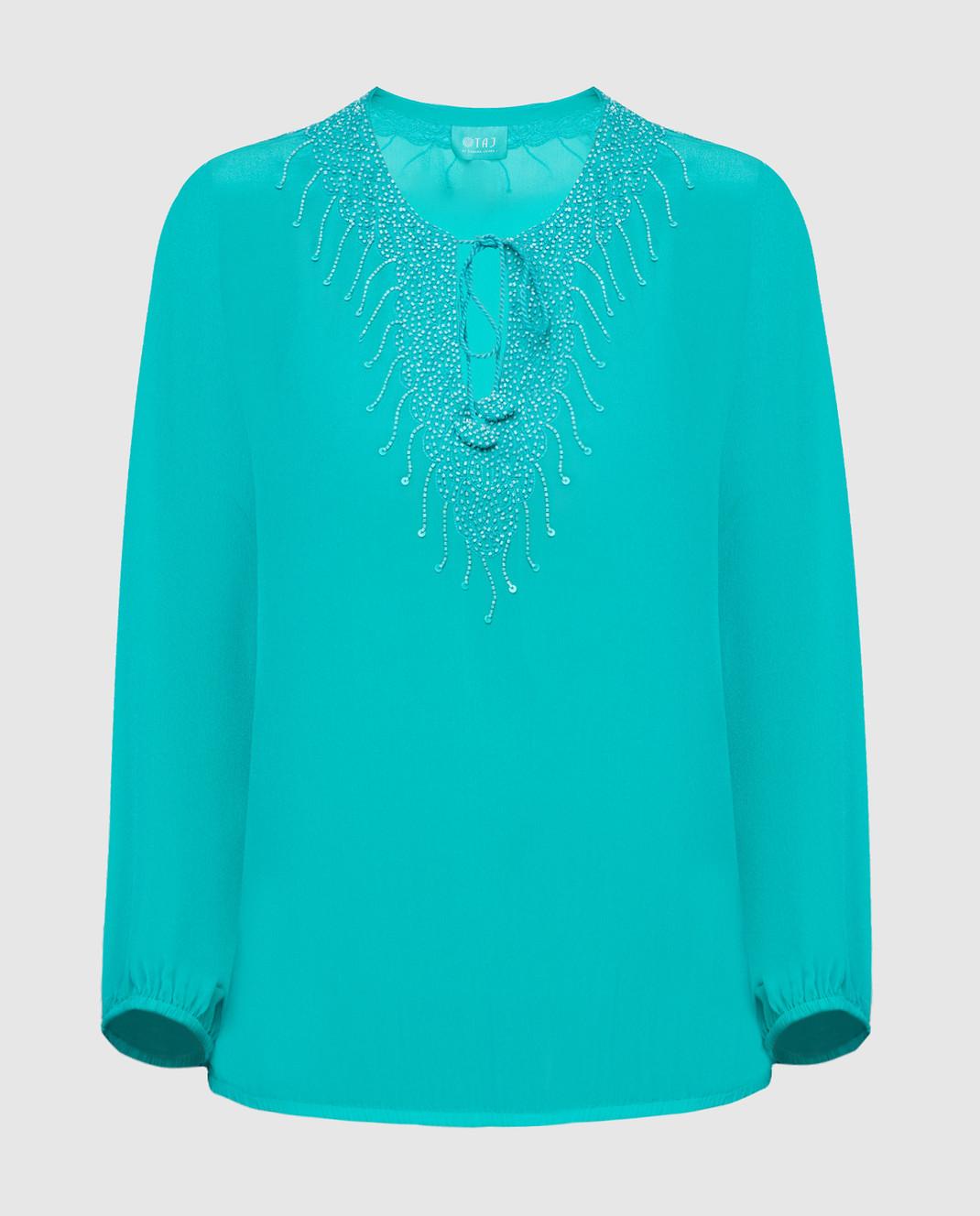 Taj by Sabrina Бирюзовая блуза из шелка SUSH1087