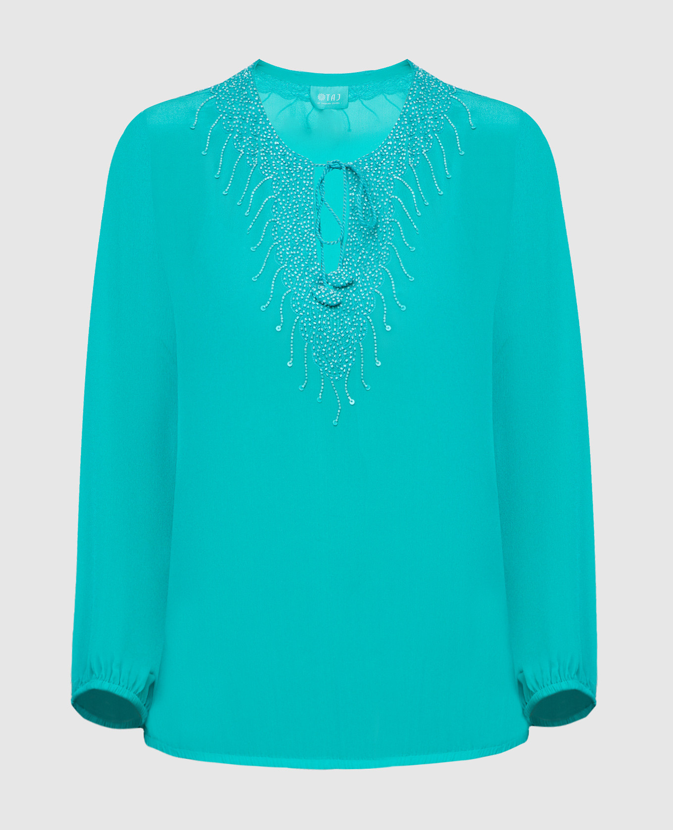 Бирюзовая блуза из шелка