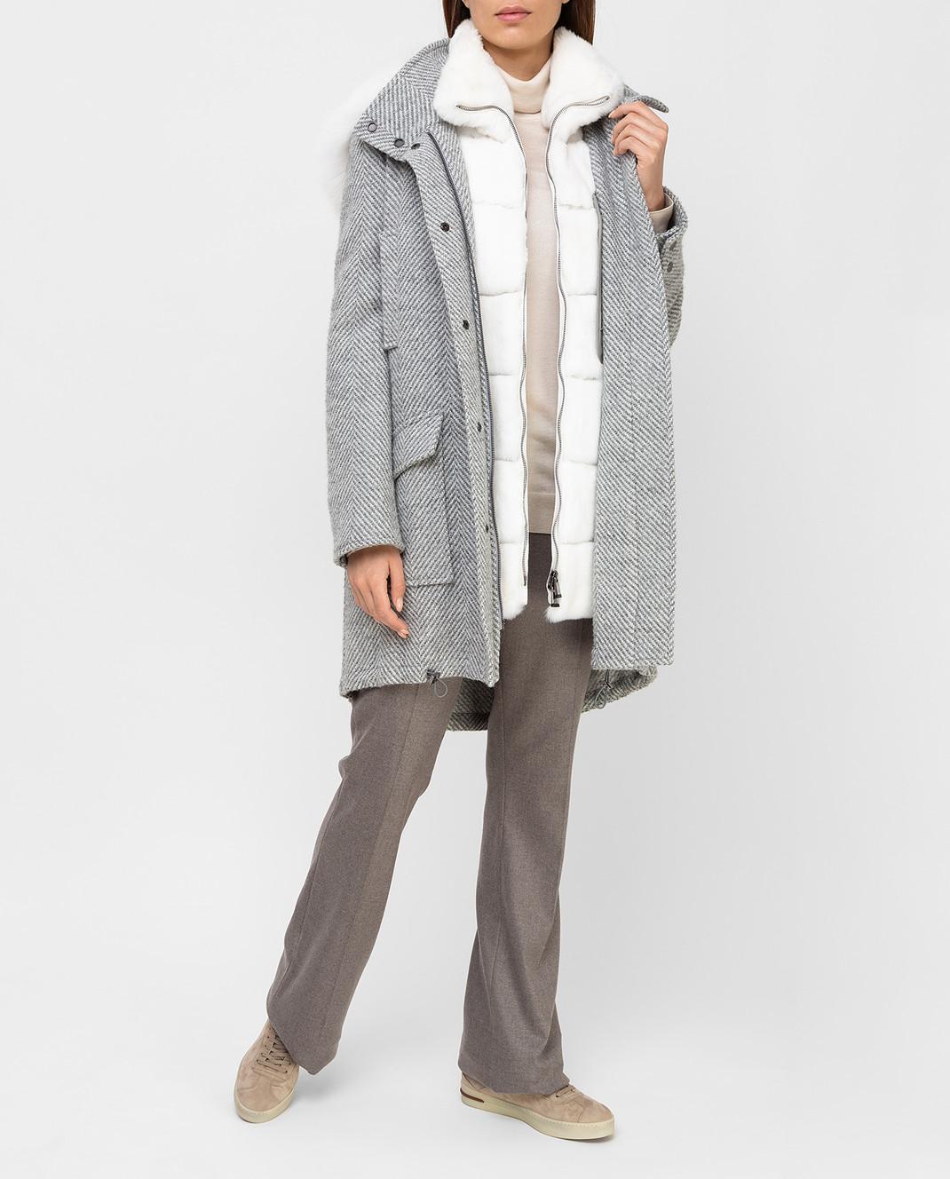 Giuliana Teso Серая парка из шерсти и альпаки с мехом лисы 84QS590 изображение 2