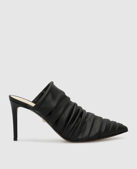Черные кожаные мюли
