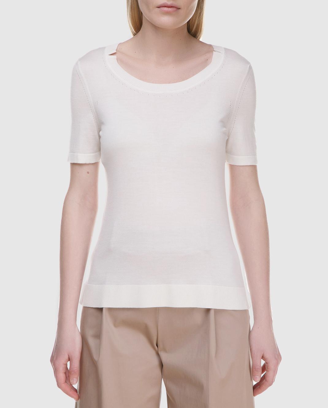 Maison Ullens Белый джемпер из кашемира и шелка TSS018 изображение 3