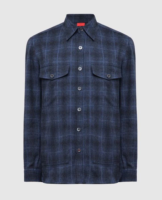Темно-синяя рубашка из шерсти и кашемира