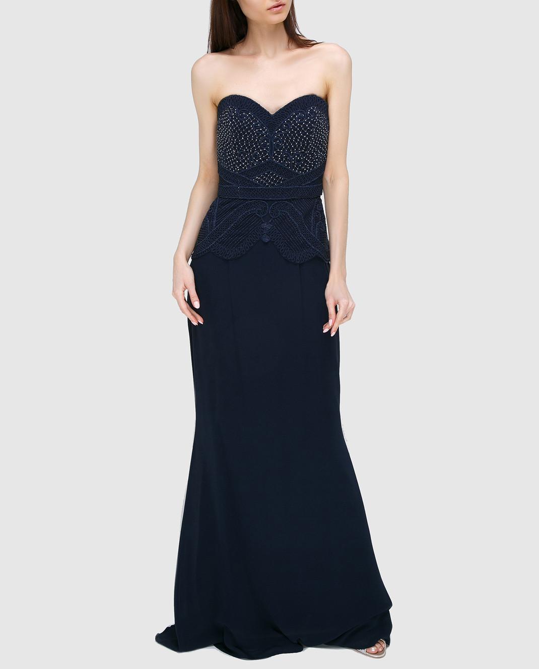 Rachel Gilbert Темно-синее платье из шелка 60014 изображение 2