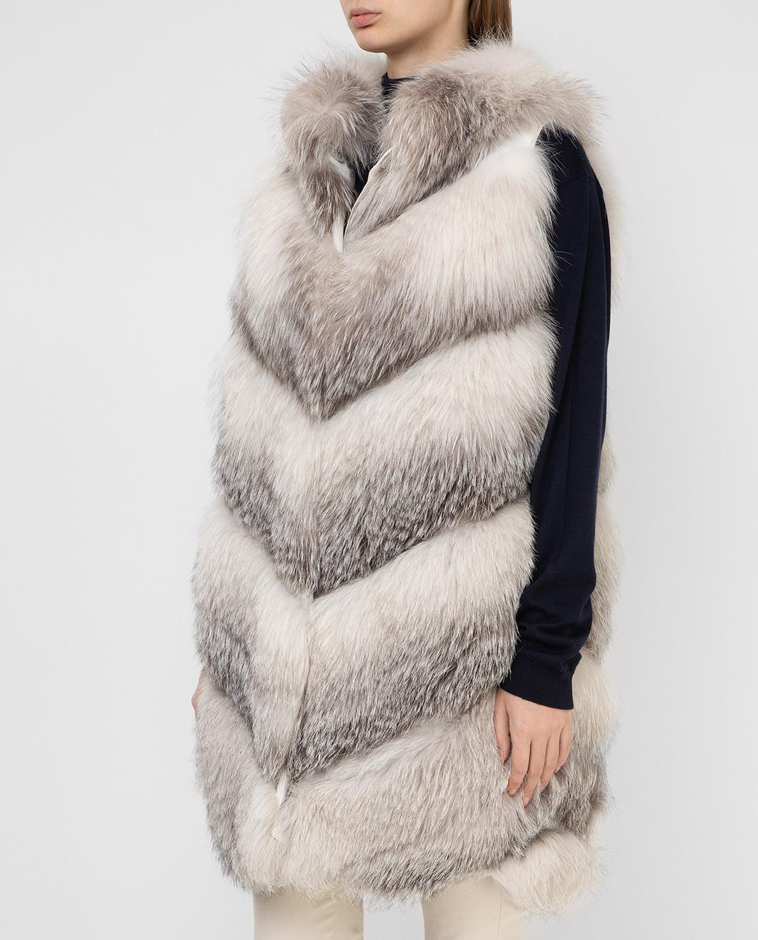 Florence Mode Серый жилет из меха лисы изображение 3
