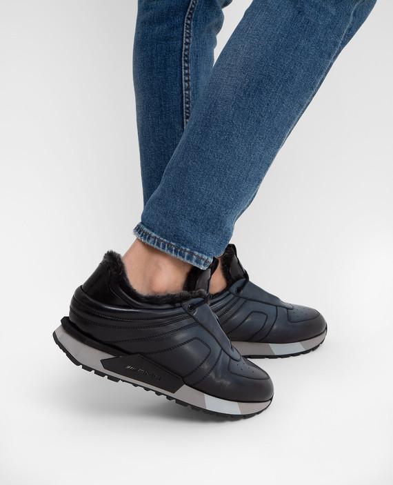 Темно-синие кроссовки на меху hover
