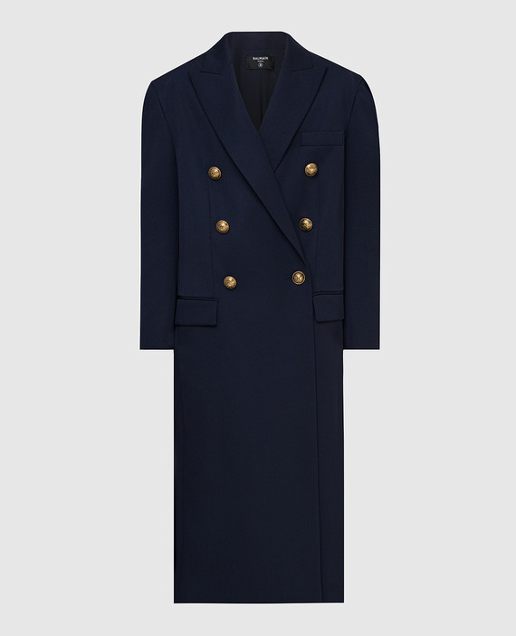 Темно-синее пальто из шерсти