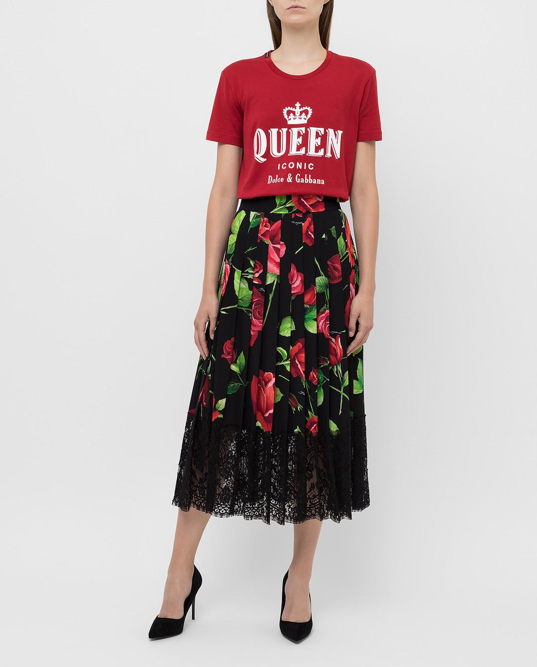 Dolce&Gabbana Черная юбка из шелка F4BFTTFSAY1 изображение 2