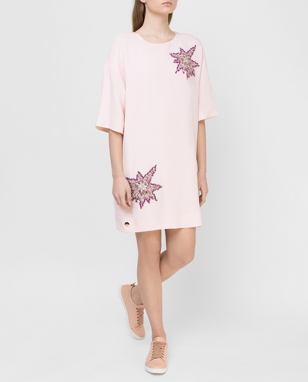 Philipp Plein Розовое платье с кристаллами CW440354 изображение 2