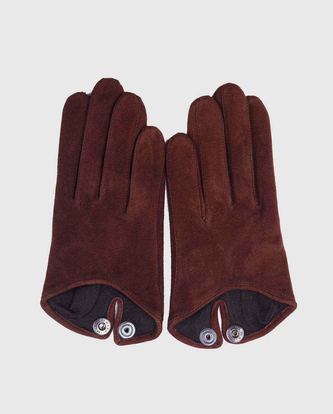 Maison Fabre Коричневые замшевые перчатки SASHASVELOURS изображение 3