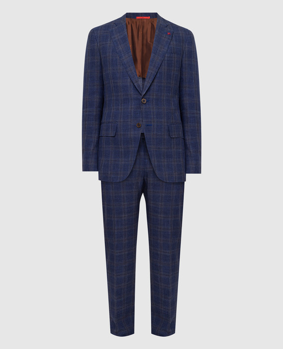 Темно-синий костюм из шерсти, шелка и льна