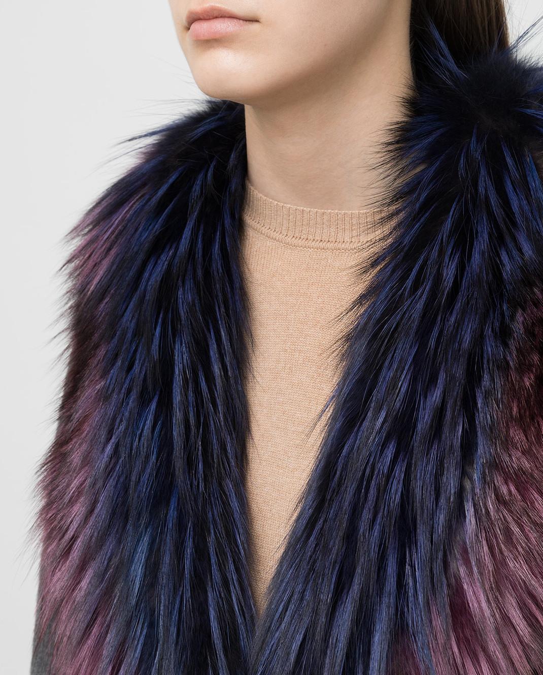 Rindi Серое пальто из кашемира с мехом лисы 262TE017 изображение 5