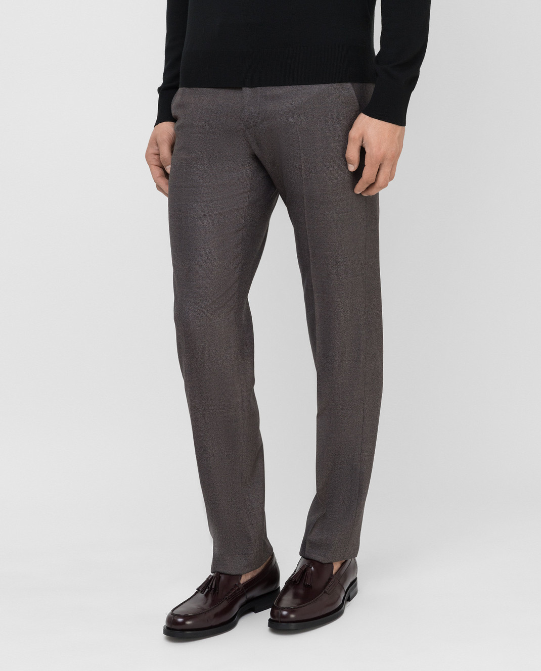 Stefano Ricci Темно-бежевые брюки из шерсти изображение 3