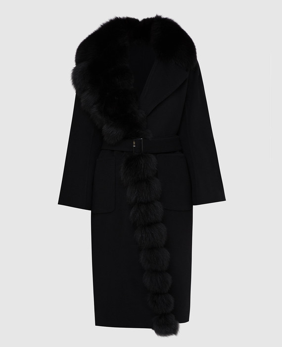 Черное пальто из шерсти с мехом лисы