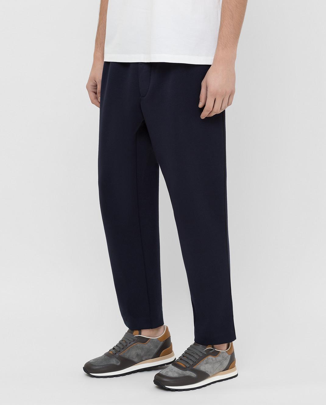 Moncler Темно-синие спортивные брюки 1146600829FC изображение 3