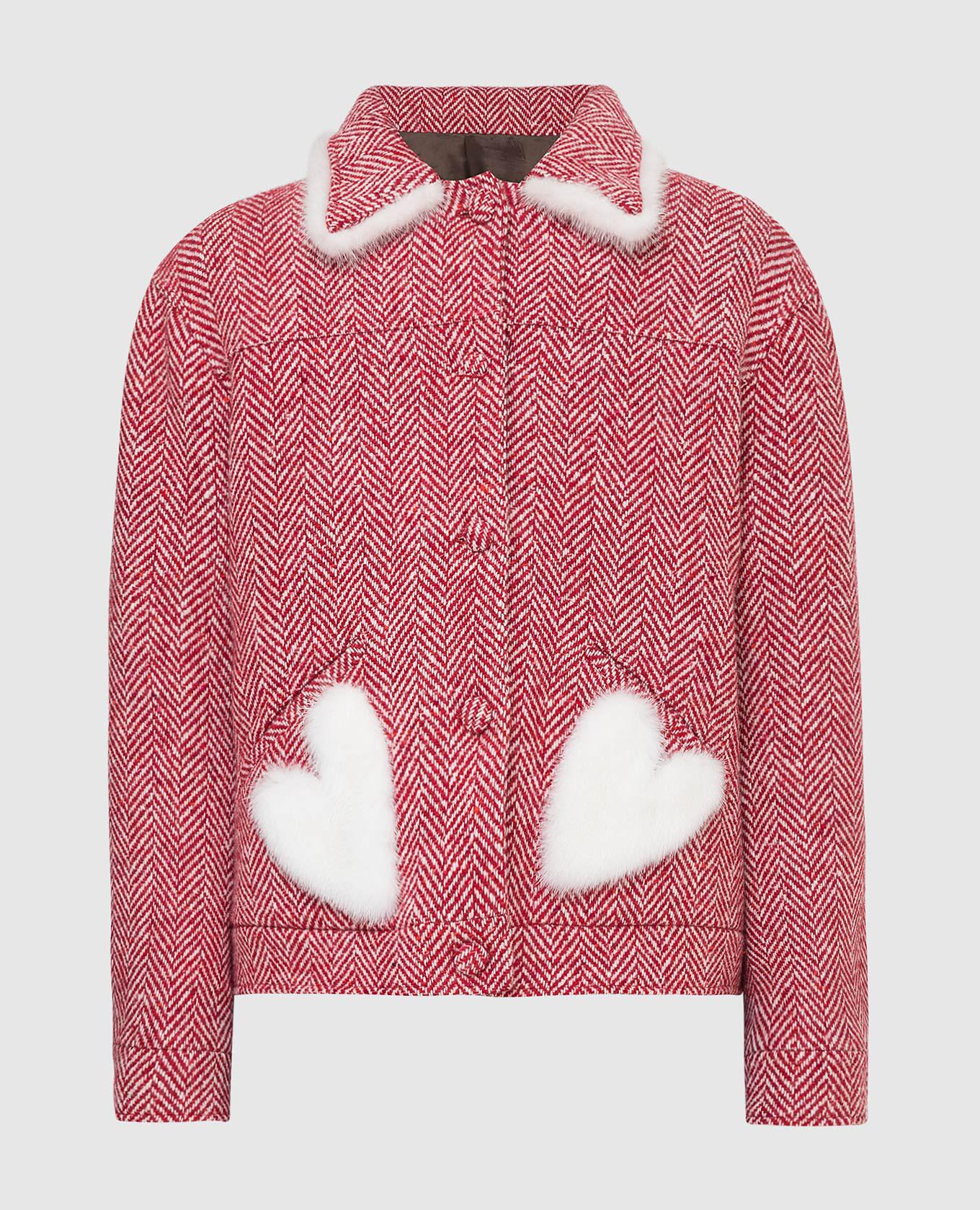 Красное пальто из шерсти с мехом норки