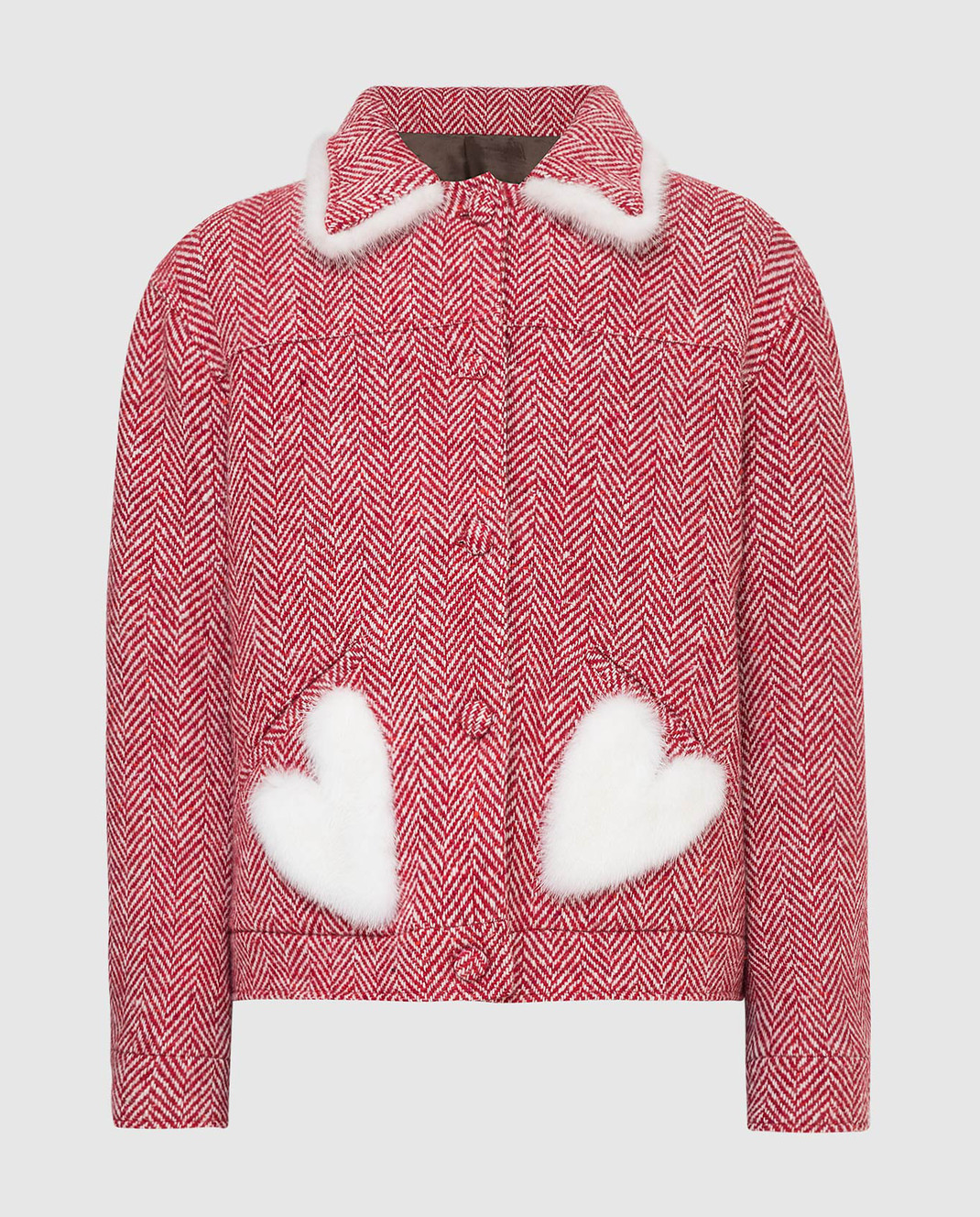 Simonetta Ravizza Красное пальто из шерсти с мехом норки BETH3