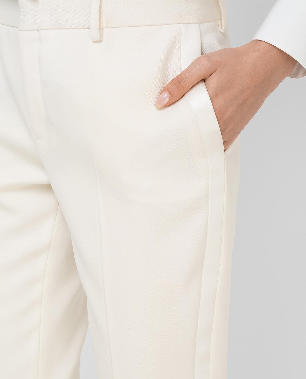 Saint Laurent Светло-бежевые брюки из шерсти 516111 изображение 5