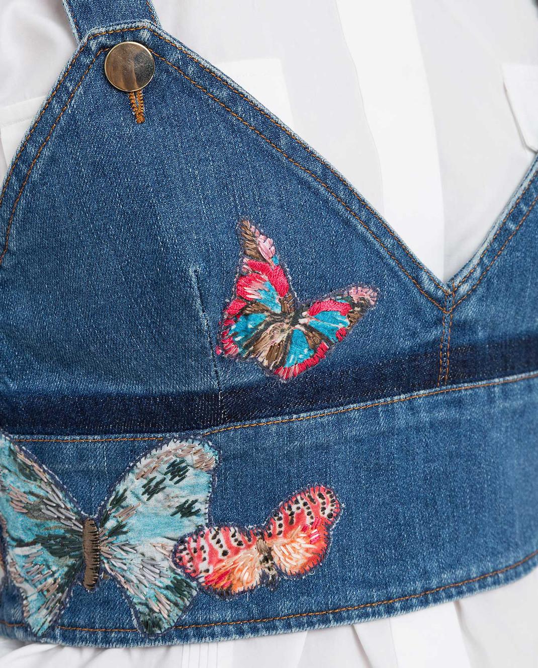 Valentino Синий джинсовый топ KB3DB00C1YF изображение 5