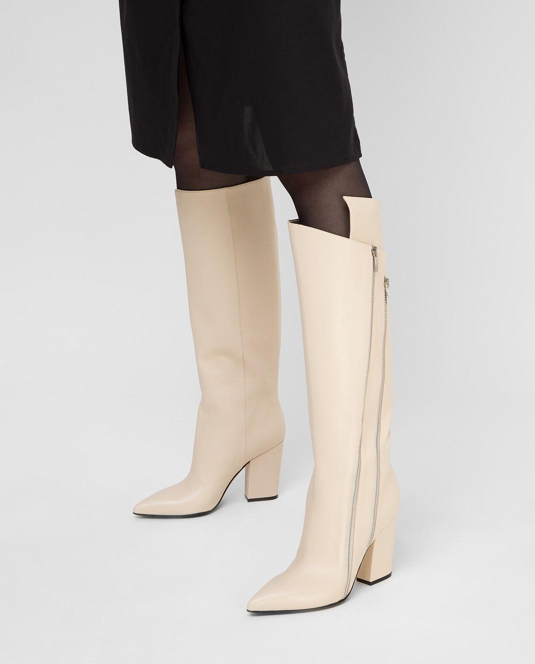 Sergio Rossi Светло-бежевые кожаные сапоги изображение 2