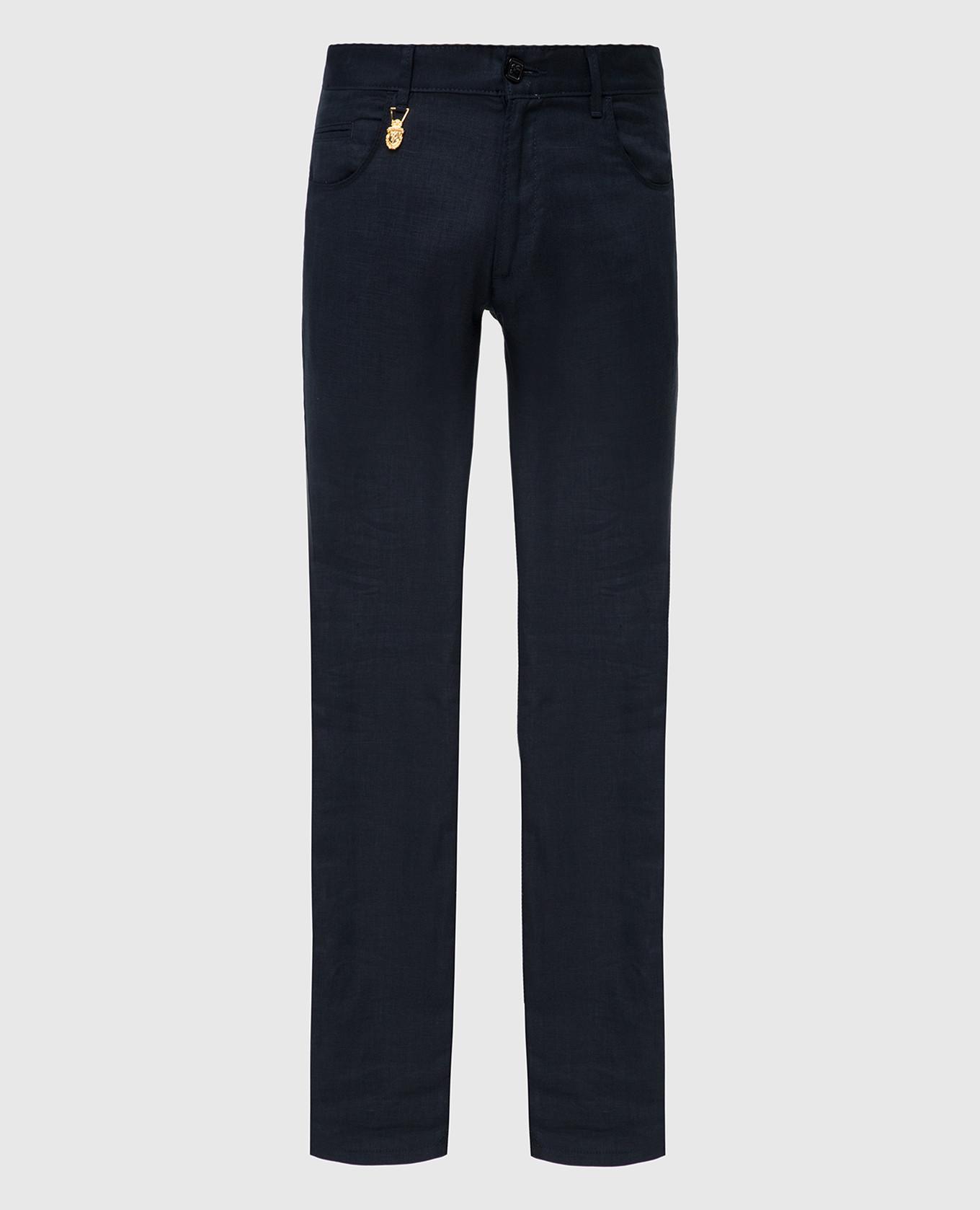 Темно-синие брюки из льна