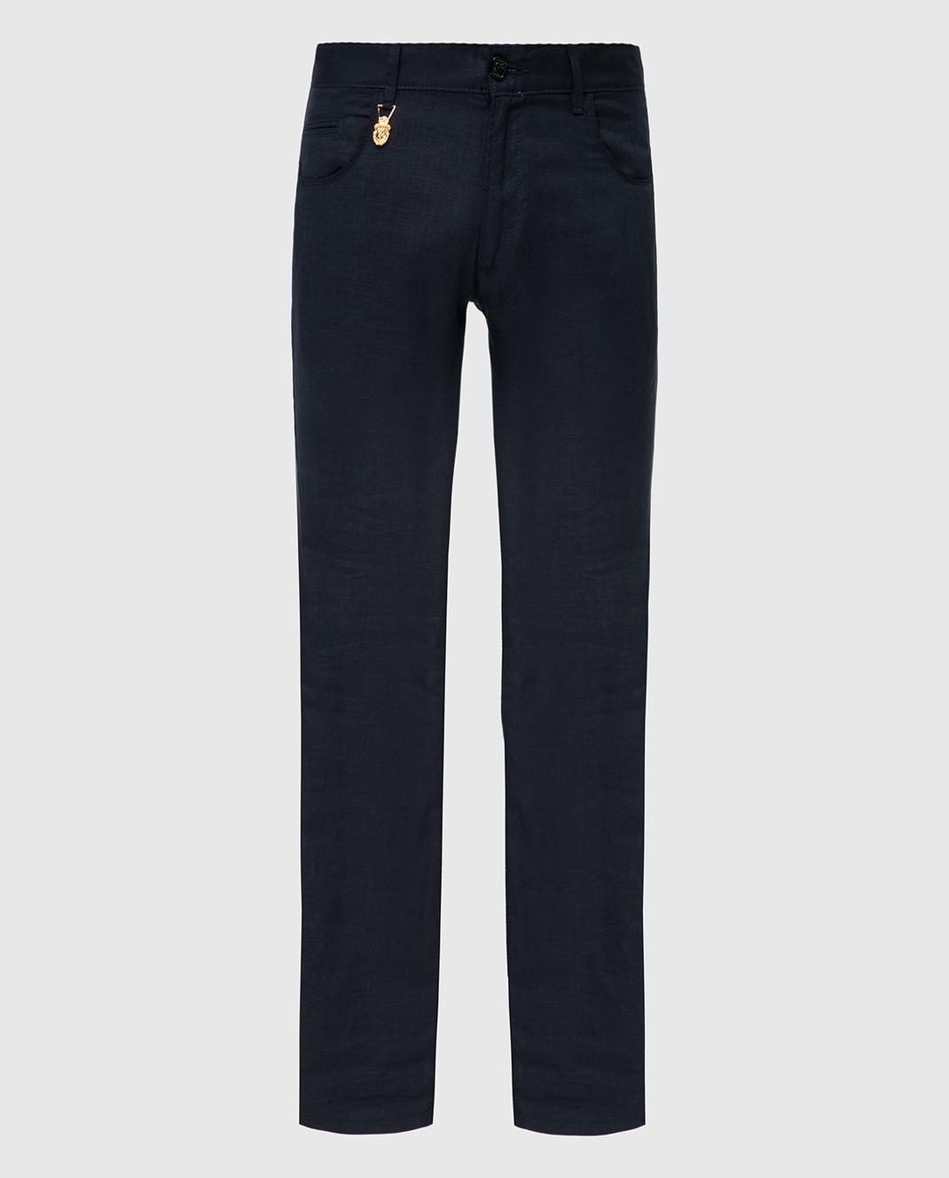 Billionaire Темно-синие брюки из льна MRT0546