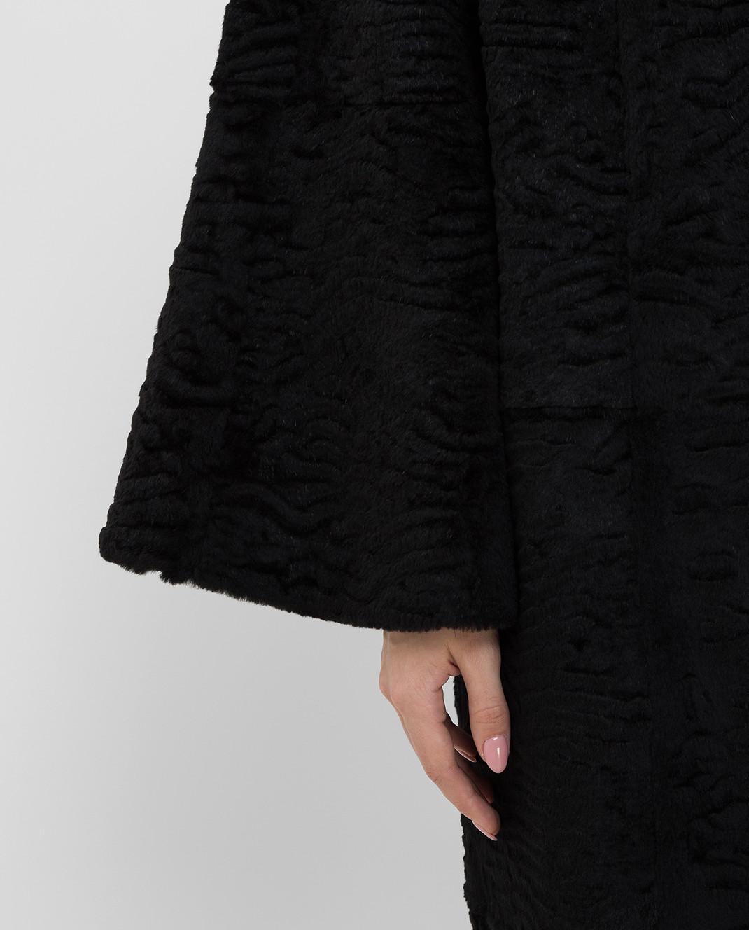 Giuliana Teso Черное пальто из меха кролика 84KA440A изображение 5