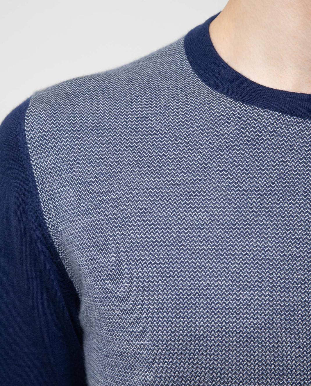 Kiton Темно-синий джемпер из кашемира и шелка изображение 5