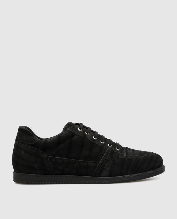 Черные кроссовки из кожи крокодила
