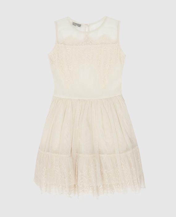Детское светло-бежевое платье с кристаллами hover