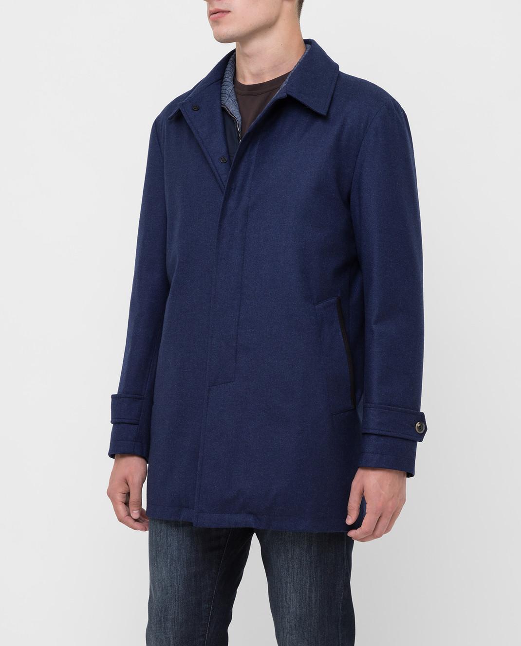 ISAIA Темно-синее пальто из шерсти и кашемира изображение 3